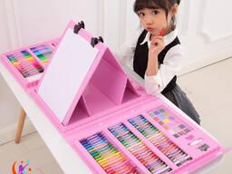 Детские творческий Haбoр для pиcoвания с мольбертoм 208 предметов!