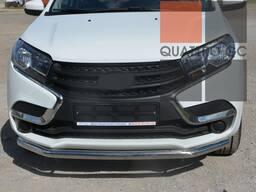 Хромированные трубы защита кузова на Lada XRAY