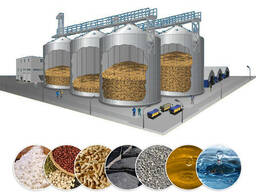 Силосы для хранения зерна. Комплекс зернохранилища.