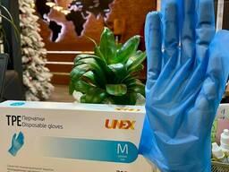 Перчатки TPE синий , чёрный медицинские перчатки UNEX Group