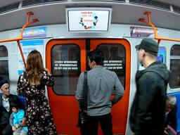 Реклама на мониторах в вагонах метро, автобусах и заправках