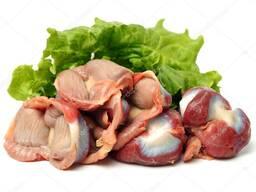 Куриные потроха, сердца, желудки, печень, головы, куриные лапки, свежие, замороженном виде